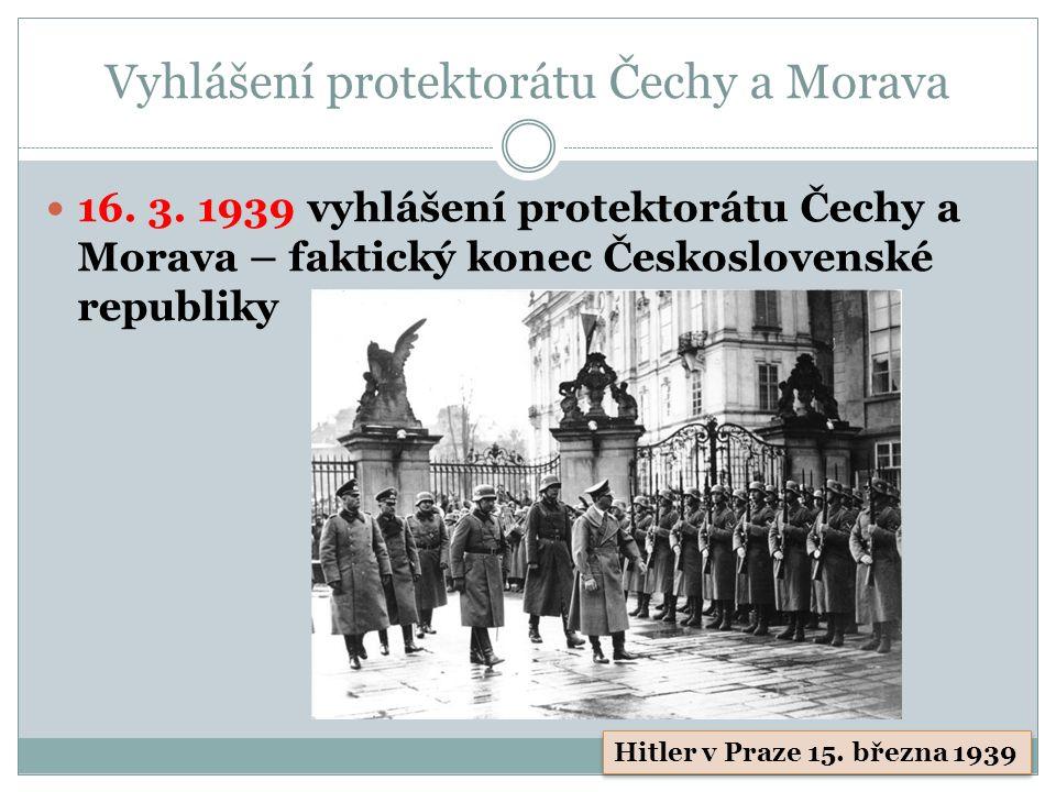Vyhlášení protektorátu Čechy a Morava 16. 3.