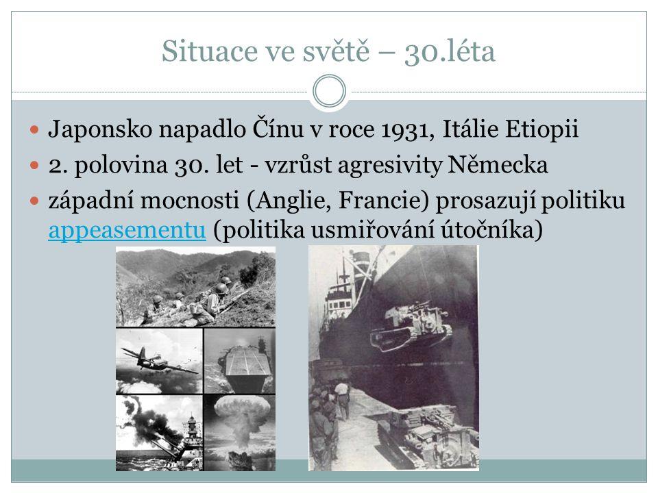 Situace ve světě – 30.léta Japonsko napadlo Čínu v roce 1931, Itálie Etiopii 2.