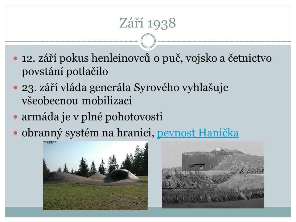 Září 1938 12. září pokus henleinovců o puč, vojsko a četnictvo povstání potlačilo 23.