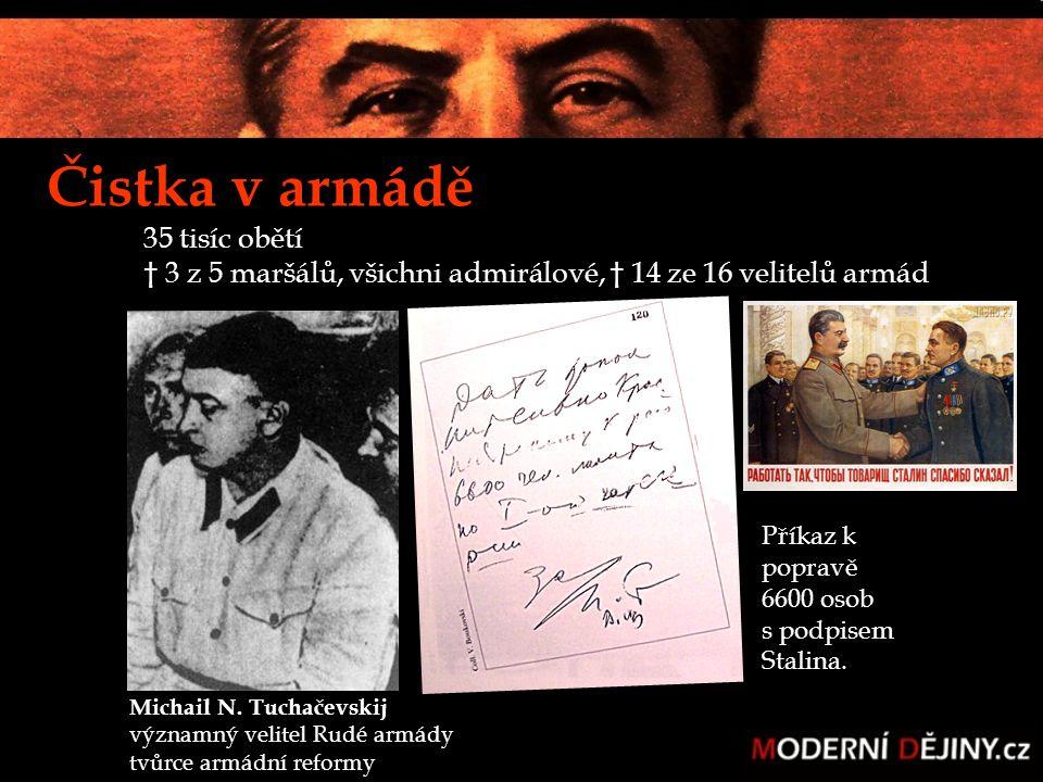 Čistka v armádě 35 tisíc obětí † 3 z 5 maršálů, všichni admirálové, † 14 ze 16 velitelů armád Příkaz k popravě 6600 osob s podpisem Stalina. Michail N