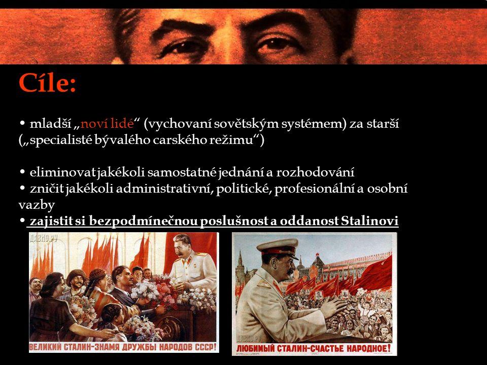 """Cíle: mladší """"noví lidé (vychovaní sovětským systémem) za starší (""""specialisté bývalého carského režimu ) eliminovat jakékoli samostatné jednání a rozhodování zničit jakékoli administrativní, politické, profesionální a osobní vazby zajistit si bezpodmínečnou poslušnost a oddanost Stalinovi"""