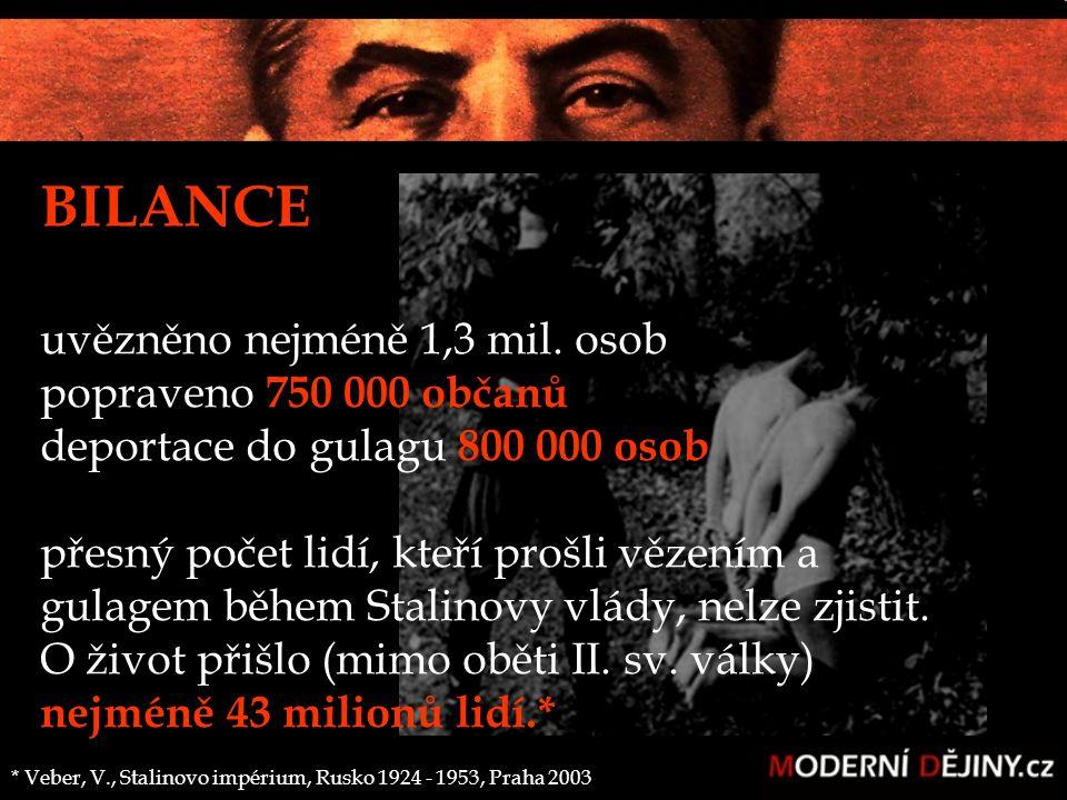 BILANCE uvězněno nejméně 1,3 mil. osob popraveno 750 000 občanů deportace do gulagu 800 000 osob přesný počet lidí, kteří prošli vězením a gulagem běh