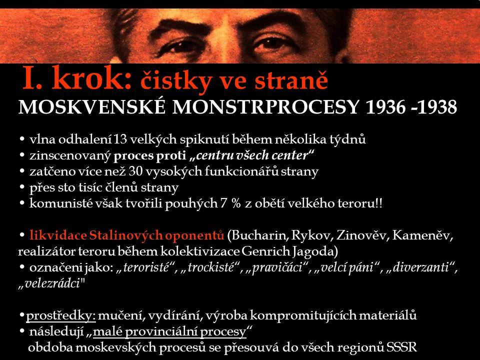 """I. krok: čistky ve straně MOSKVENSKÉ MONSTRPROCESY 1936 -1938 vlna odhalení 13 velkých spiknutí během několika týdnů zinscenovaný proces proti """" centr"""