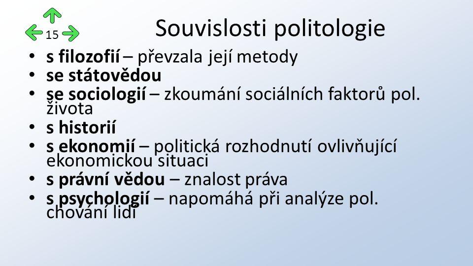 s filozofií – převzala její metody se státovědou se sociologií – zkoumání sociálních faktorů pol. života s historií s ekonomií – politická rozhodnutí