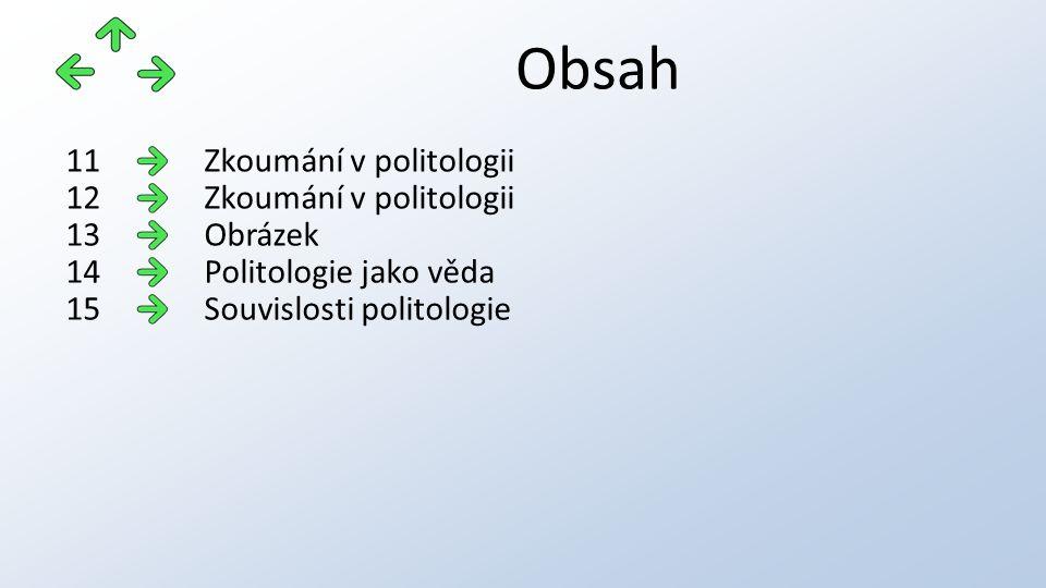 Obsah Zkoumání v politologii11 Zkoumání v politologii12 Obrázek13 Politologie jako věda14 Souvislosti politologie15