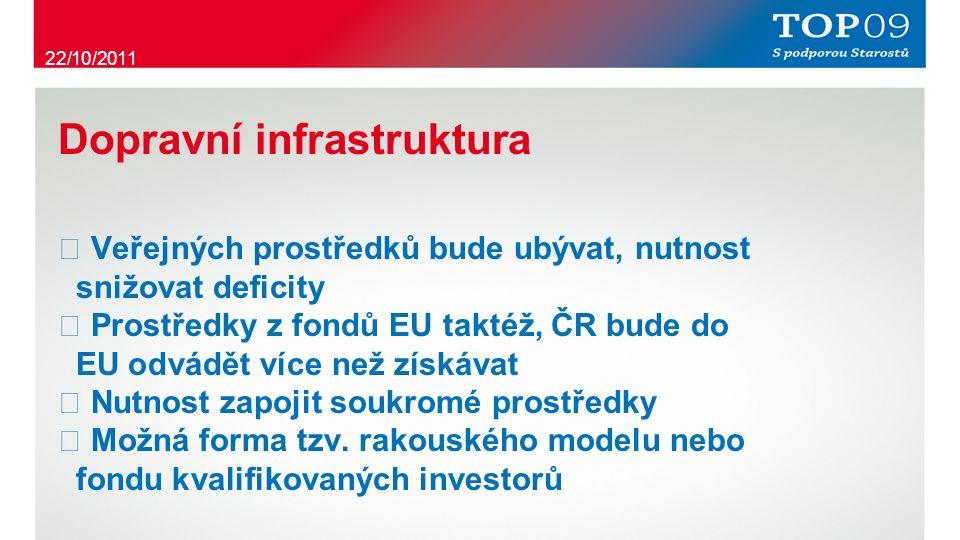Dopravní infrastruktura ・ Veřejných prostředků bude ubývat, nutnost snižovat deficity ・ Prostředky z fondů EU taktéž, ČR bude do EU odvádět více než získávat ・ Nutnost zapojit soukromé prostředky ・ Možná forma tzv.