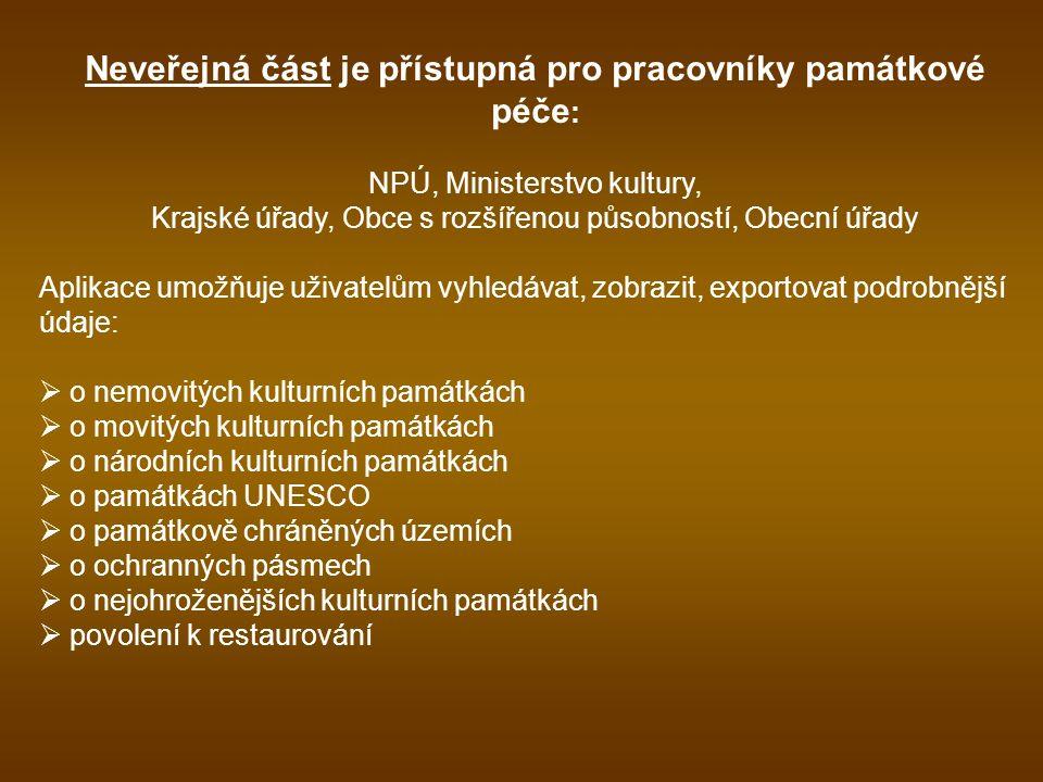 Neveřejná část je přístupná pro pracovníky památkové péče : NPÚ, Ministerstvo kultury, Krajské úřady, Obce s rozšířenou působností, Obecní úřady Aplik