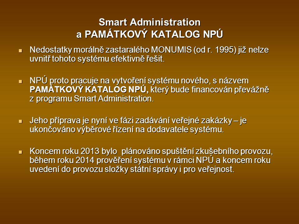 Smart Administration a PAMÁTKOVÝ KATALOG NPÚ Nedostatky morálně zastaralého MONUMIS (od r. 1995) již nelze uvnitř tohoto systému efektivně řešit. Nedo