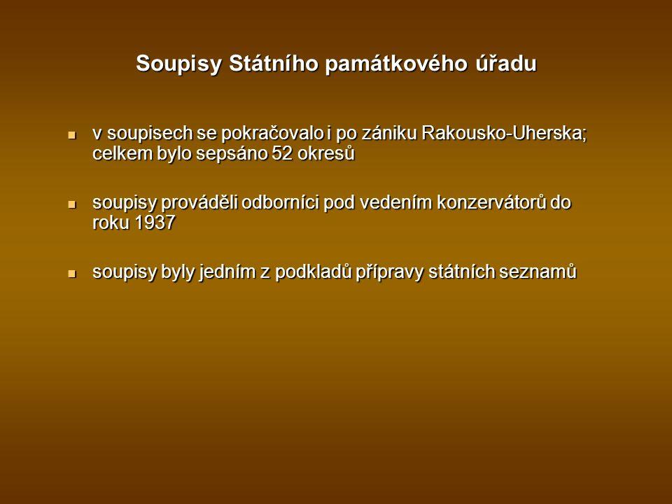 Soupisy Státního památkového úřadu v soupisech se pokračovalo i po zániku Rakousko-Uherska; celkem bylo sepsáno 52 okresů v soupisech se pokračovalo i po zániku Rakousko-Uherska; celkem bylo sepsáno 52 okresů soupisy prováděli odborníci pod vedením konzervátorů do roku 1937 soupisy prováděli odborníci pod vedením konzervátorů do roku 1937 soupisy byly jedním z podkladů přípravy státních seznamů soupisy byly jedním z podkladů přípravy státních seznamů