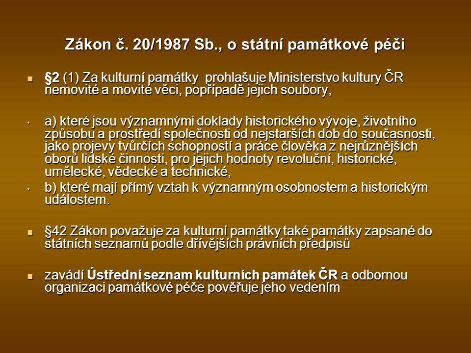 Zákon č. 20/1987 Sb., o státní památkové péči §2 (1) Za kulturní památky prohlašuje Ministerstvo kultury ČR nemovité a movité věci, popřípadě jejich s