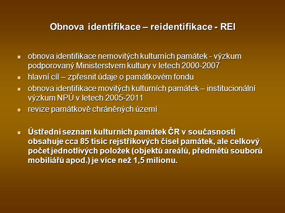 Obnova identifikace – reidentifikace - REI obnova identifikace nemovitých kulturních památek - výzkum podporovaný Ministerstvem kultury v letech 2000-