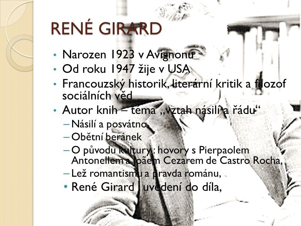 """RENÉ GIRARD Narozen 1923 v Avignonu Od roku 1947 žije v USA Francouzský historik, literární kritik a filozof sociálních věd Autor knih – téma """"vztah n"""