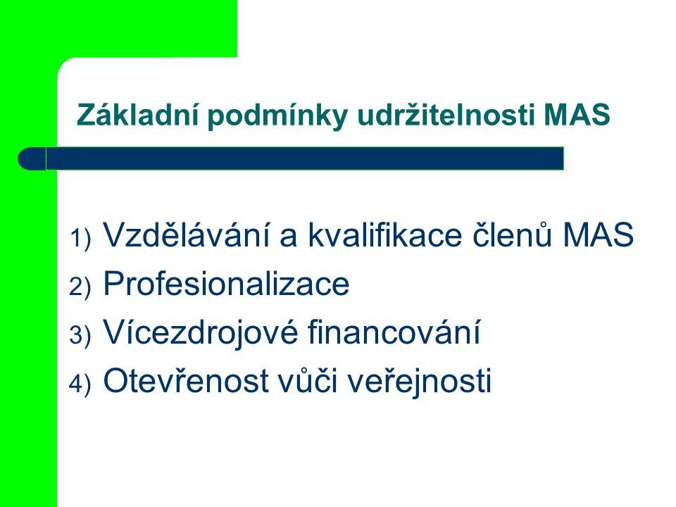 Základní podmínky udržitelnosti MAS 1) Vzdělávání a kvalifikace členů MAS 2) Profesionalizace 3) Vícezdrojové financování 4) Otevřenost vůči veřejnosti