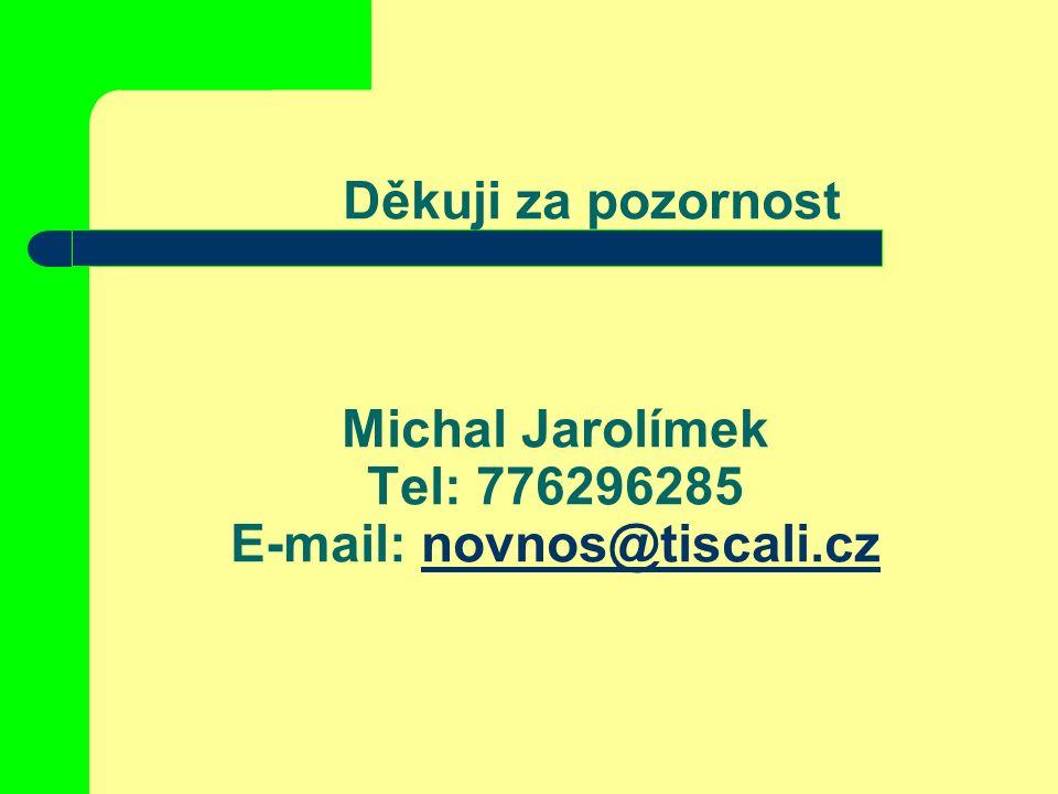 Děkuji za pozornost Michal Jarolímek Tel: 776296285 E-mail: novnos@tiscali.cznovnos@tiscali.cz