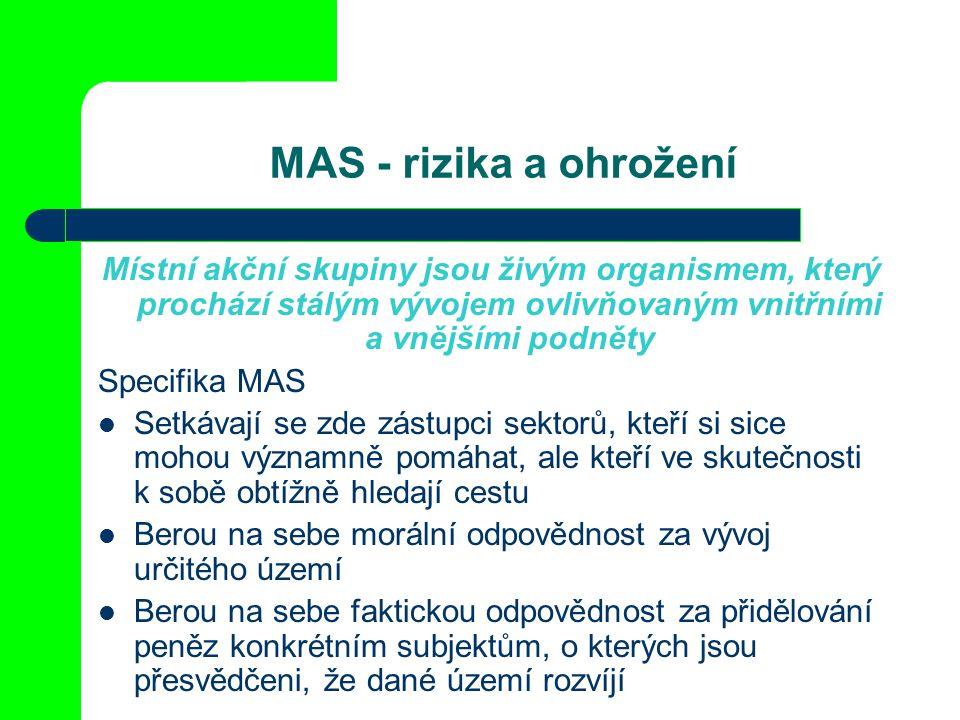 MAS - rizika a ohrožení Místní akční skupiny jsou živým organismem, který prochází stálým vývojem ovlivňovaným vnitřními a vnějšími podněty Specifika MAS Setkávají se zde zástupci sektorů, kteří si sice mohou významně pomáhat, ale kteří ve skutečnosti k sobě obtížně hledají cestu Berou na sebe morální odpovědnost za vývoj určitého území Berou na sebe faktickou odpovědnost za přidělování peněz konkrétním subjektům, o kterých jsou přesvědčeni, že dané území rozvíjí