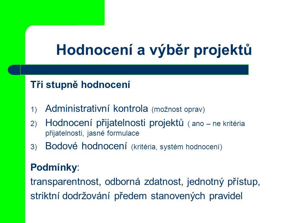 Hodnocení a výběr projektů Tři stupně hodnocení 1) Administrativní kontrola (možnost oprav) 2) Hodnocení přijatelnosti projektů ( ano – ne kritéria přijatelnosti, jasné formulace 3) Bodové hodnocení (kritéria, systém hodnocení) Podmínky: transparentnost, odborná zdatnost, jednotný přístup, striktní dodržování předem stanovených pravidel