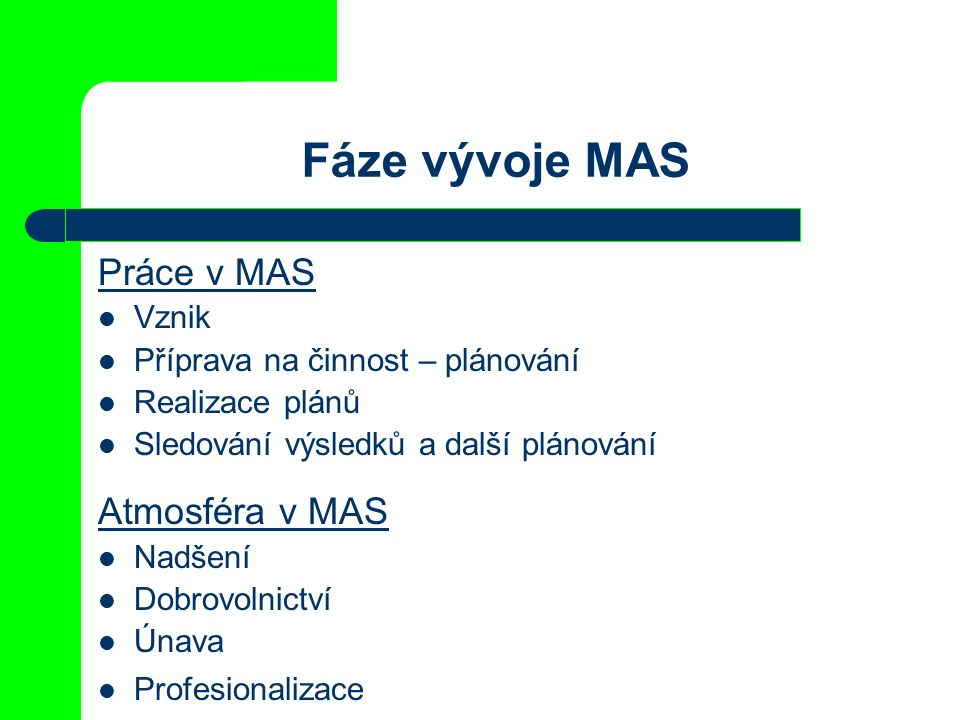 Fáze vývoje MAS Práce v MAS Vznik Příprava na činnost – plánování Realizace plánů Sledování výsledků a další plánování Atmosféra v MAS Nadšení Dobrovolnictví Únava Profesionalizace