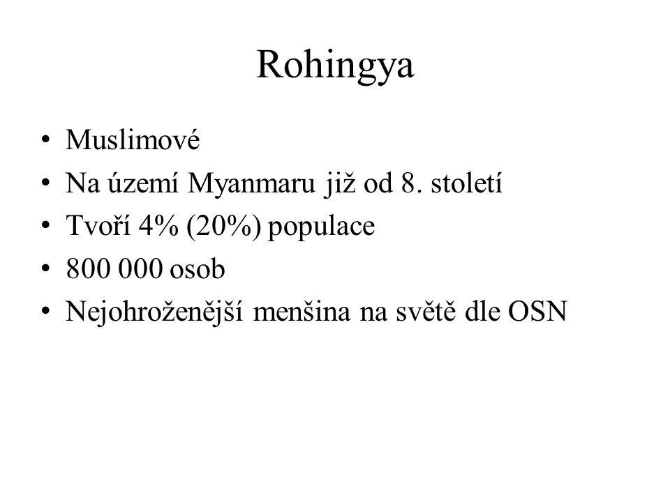Rohingya Muslimové Na území Myanmaru již od 8.