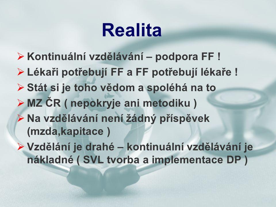 Realita  Kontinuální vzdělávání – podpora FF .  Lékaři potřebují FF a FF potřebují lékaře .