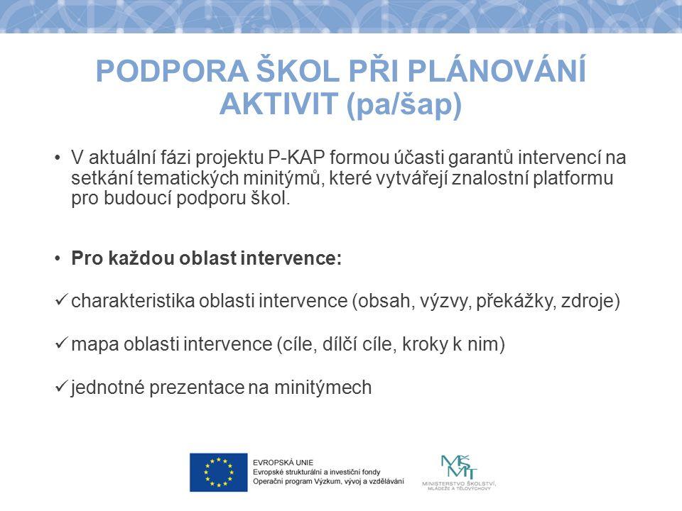 PODPORA ŠKOL PŘI PLÁNOVÁNÍ AKTIVIT (pa/šap) V aktuální fázi projektu P-KAP formou účasti garantů intervencí na setkání tematických minitýmů, které vyt
