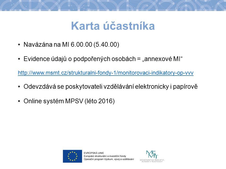 """Karta účastníka Navázána na MI 6.00.00 (5.40.00) Evidence údajů o podpořených osobách = """"annexové MI http://www.msmt.cz/strukturalni-fondy-1/monitorovaci-indikatory-op-vvv Odevzdává se poskytovateli vzdělávání elektronicky i papírově Online systém MPSV (léto 2016)"""