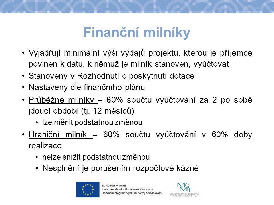 Finanční milníky Vyjadřují minimální výši výdajů projektu, kterou je příjemce povinen k datu, k němuž je milník stanoven, vyúčtovat Stanoveny v Rozhod