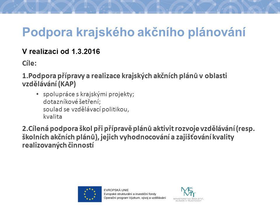 Podpora krajského akčního plánování V realizaci od 1.3.2016 Cíle: 1.Podpora přípravy a realizace krajských akčních plánů v oblasti vzdělávání (KAP) sp