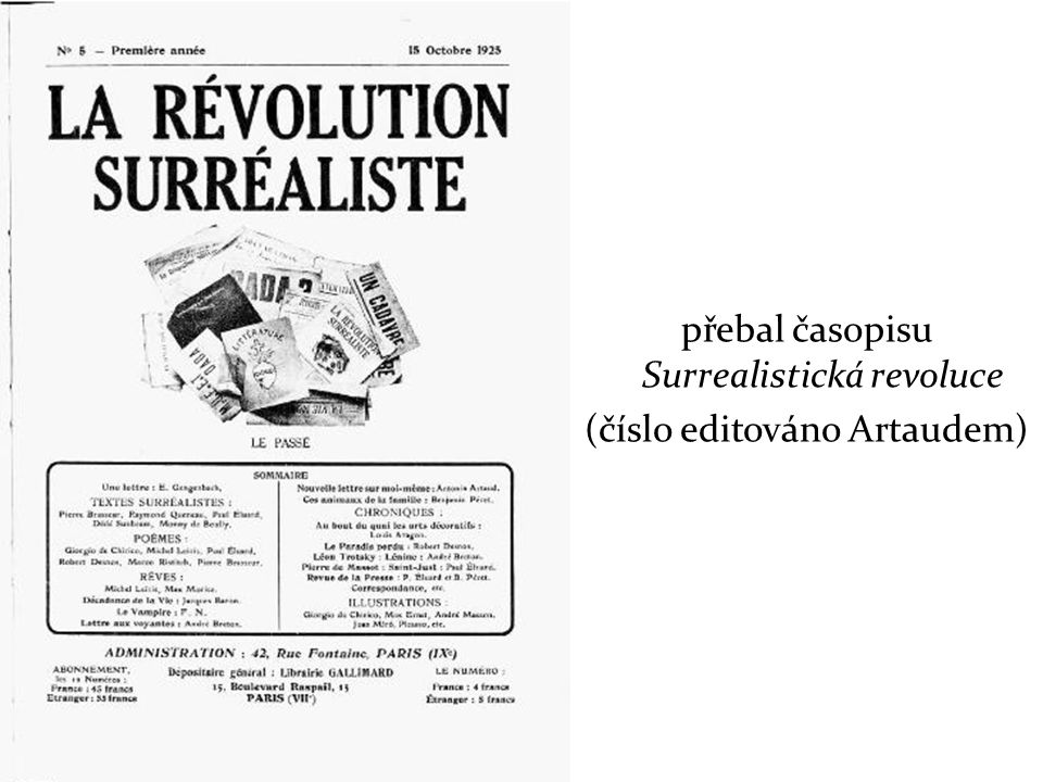přebal časopisu Surrealistická revoluce (číslo editováno Artaudem)