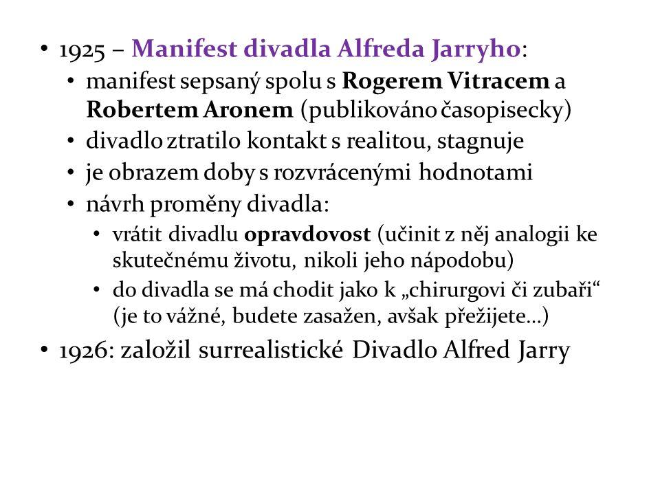 1925 – Manifest divadla Alfreda Jarryho: manifest sepsaný spolu s Rogerem Vitracem a Robertem Aronem (publikováno časopisecky) divadlo ztratilo kontak