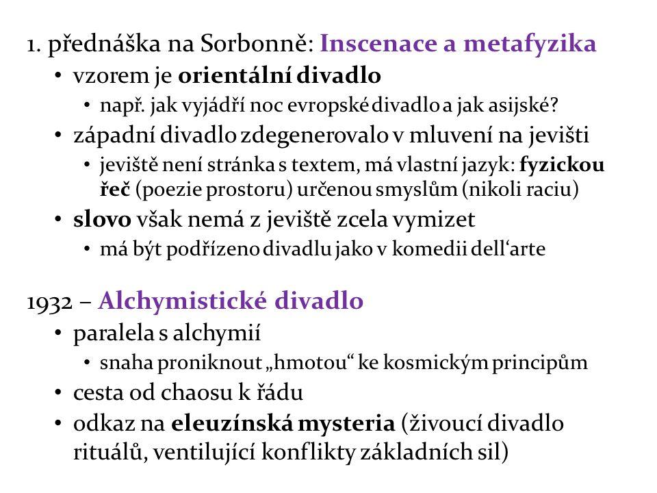 1. přednáška na Sorbonně: Inscenace a metafyzika vzorem je orientální divadlo např.