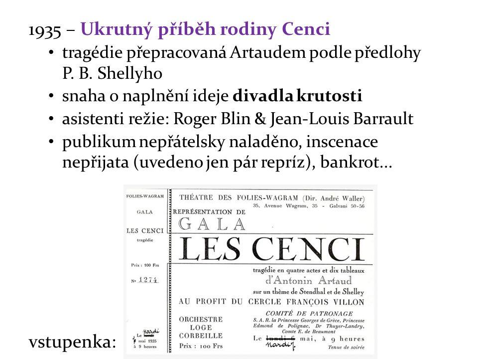 1935 – Ukrutný příběh rodiny Cenci tragédie přepracovaná Artaudem podle předlohy P. B. Shellyho snaha o naplnění ideje divadla krutosti asistenti reži