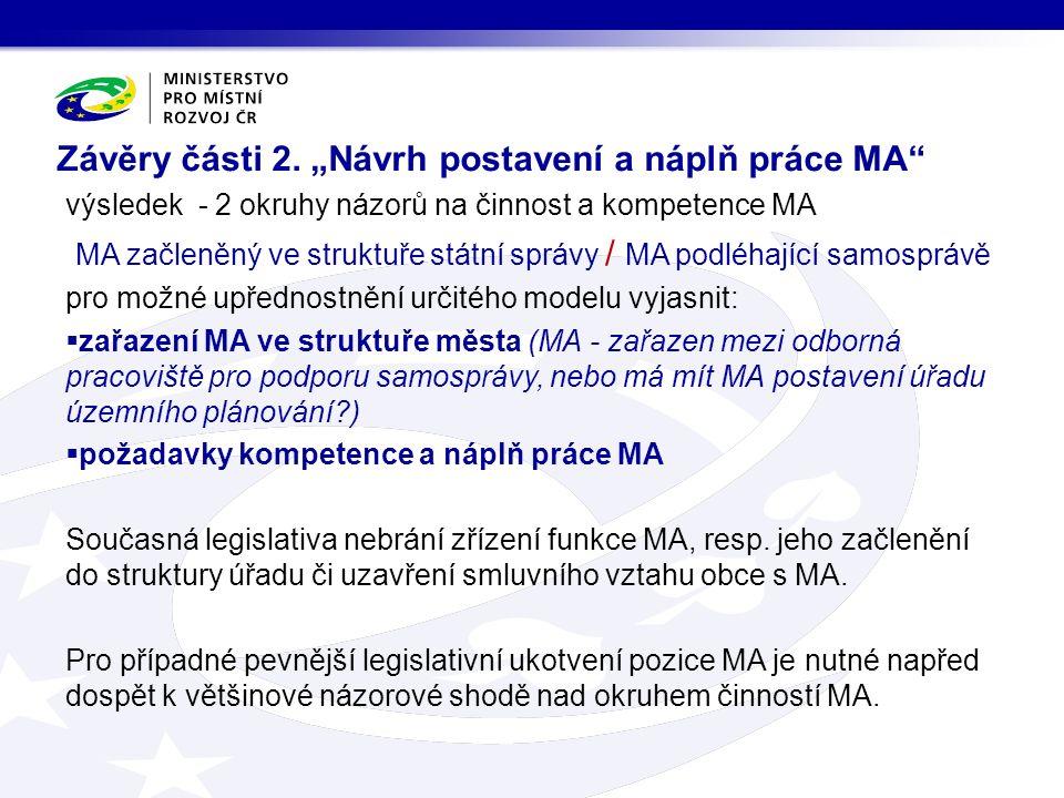 """Závěry části 2. """"Návrh postavení a náplň práce MA"""" výsledek - 2 okruhy názorů na činnost a kompetence MA MA začleněný ve struktuře státní správy / MA"""