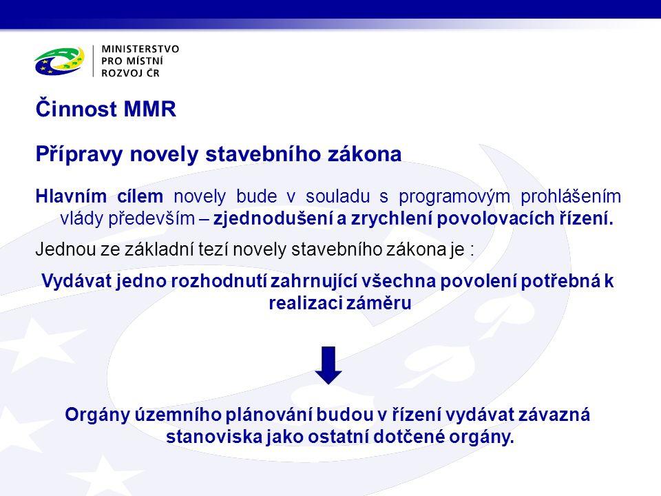 Činnost MMR Přípravy novely stavebního zákona Hlavním cílem novely bude v souladu s programovým prohlášením vlády především – zjednodušení a zrychlení