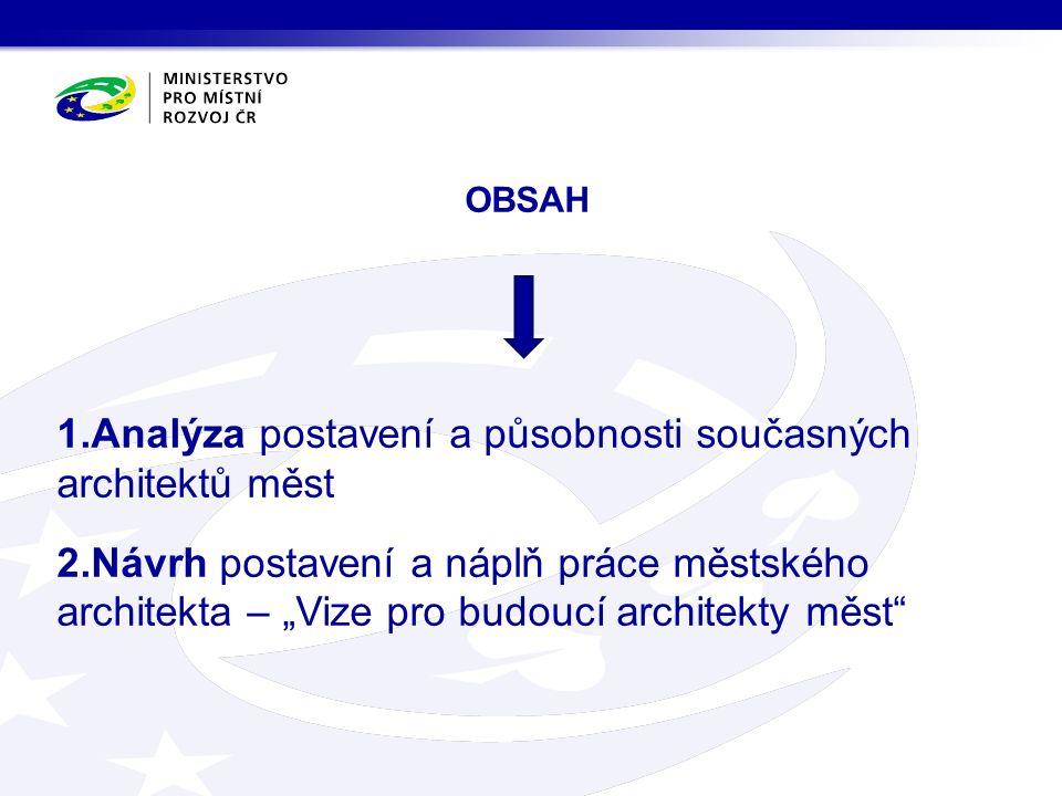 """OBSAH 1.Analýza postavení a působnosti současných architektů měst 2.Návrh postavení a náplň práce městského architekta – """"Vize pro budoucí architekty"""