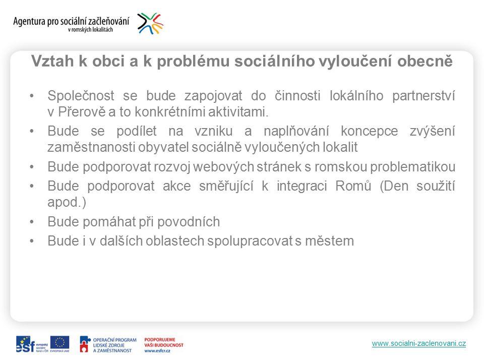 www.socialni-zaclenovani.cz Vztah k obci a k problému sociálního vyloučení obecně Společnost se bude zapojovat do činnosti lokálního partnerství v Přerově a to konkrétními aktivitami.