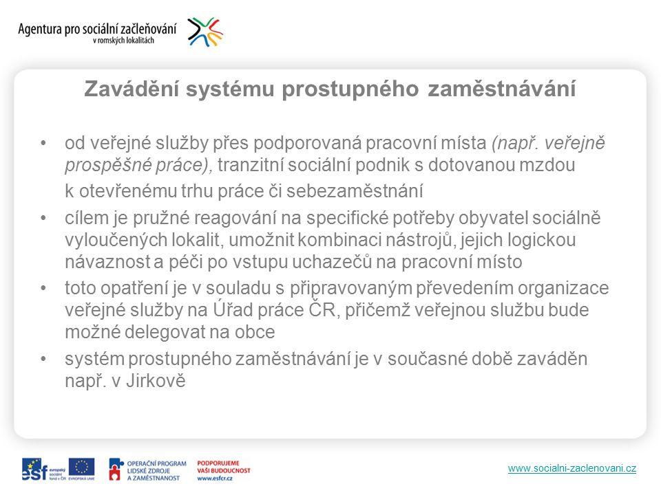 www.socialni-zaclenovani.cz Zavádění systému prostupného zaměstnávání od veřejné služby přes podporovaná pracovní místa (např.