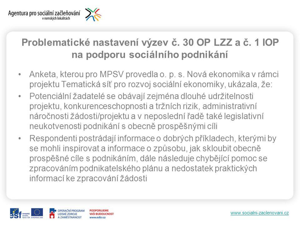 www.socialni-zaclenovani.cz Problematické nastavení výzev č.