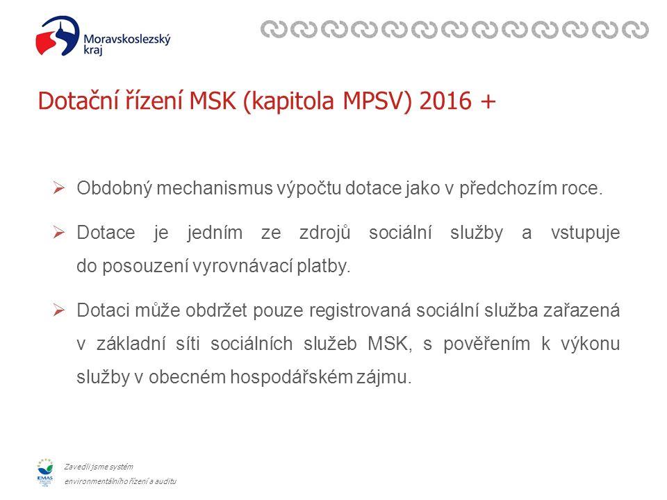 Zavedli jsme systém environmentálního řízení a auditu Dotační řízení MSK (kapitola MPSV) 2016 +  Obdobný mechanismus výpočtu dotace jako v předchozím roce.