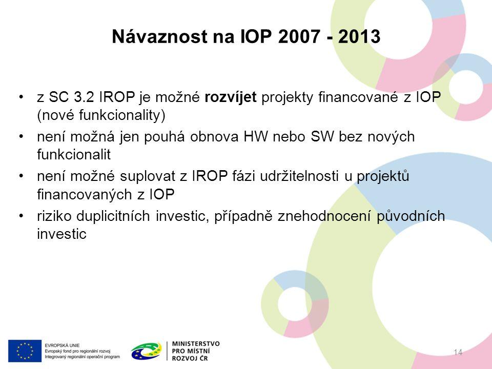 z SC 3.2 IROP je možné rozvíjet projekty financované z IOP (nové funkcionality) není možná jen pouhá obnova HW nebo SW bez nových funkcionalit není možné suplovat z IROP fázi udržitelnosti u projektů financovaných z IOP riziko duplicitních investic, případně znehodnocení původních investic Návaznost na IOP 2007 - 2013 14