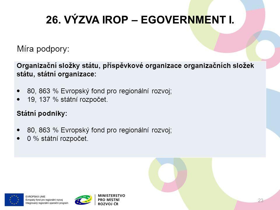 26. VÝZVA IROP – EGOVERNMENT I.