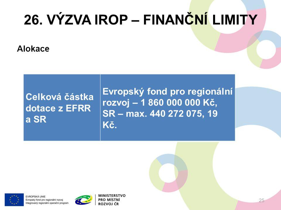 26. VÝZVA IROP – FINANČNÍ LIMITY Alokace 25 Celková částka dotace z EFRR a SR Evropský fond pro regionální rozvoj – 1 860 000 000 Kč, SR – max. 440 27