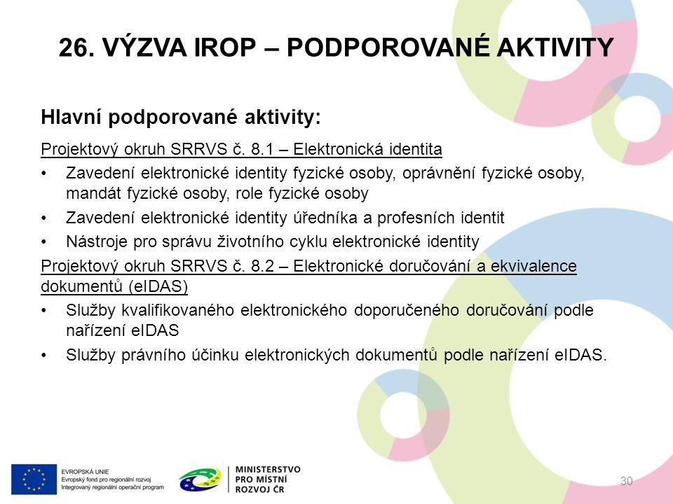 26. VÝZVA IROP – PODPOROVANÉ AKTIVITY Hlavní podporované aktivity: Projektový okruh SRRVS č.