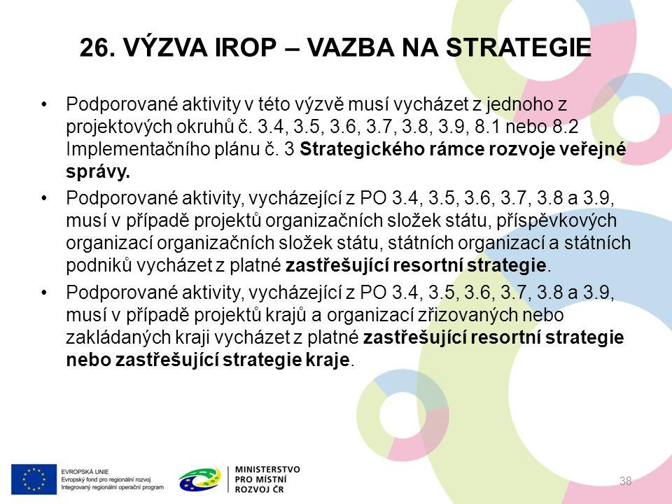 26. VÝZVA IROP – VAZBA NA STRATEGIE Podporované aktivity v této výzvě musí vycházet z jednoho z projektových okruhů č. 3.4, 3.5, 3.6, 3.7, 3.8, 3.9, 8