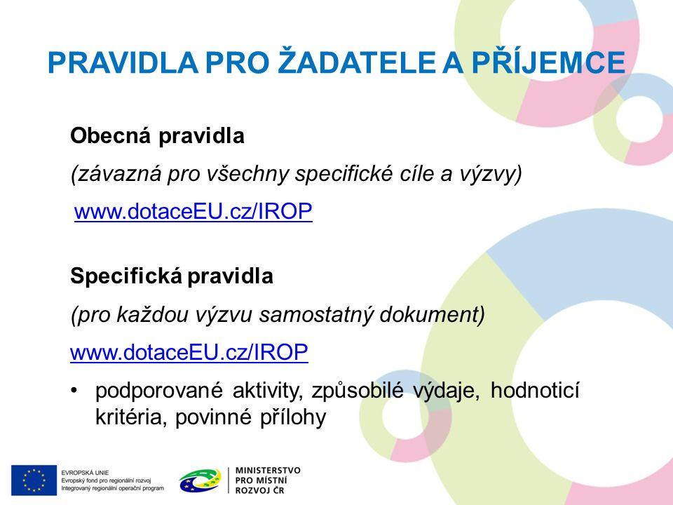 PRAVIDLA PRO ŽADATELE A PŘÍJEMCE Obecná pravidla (závazná pro všechny specifické cíle a výzvy) www.dotaceEU.cz/IROP Specifická pravidla (pro každou výzvu samostatný dokument) www.dotaceEU.cz/IROP podporované aktivity, způsobilé výdaje, hodnoticí kritéria, povinné přílohy