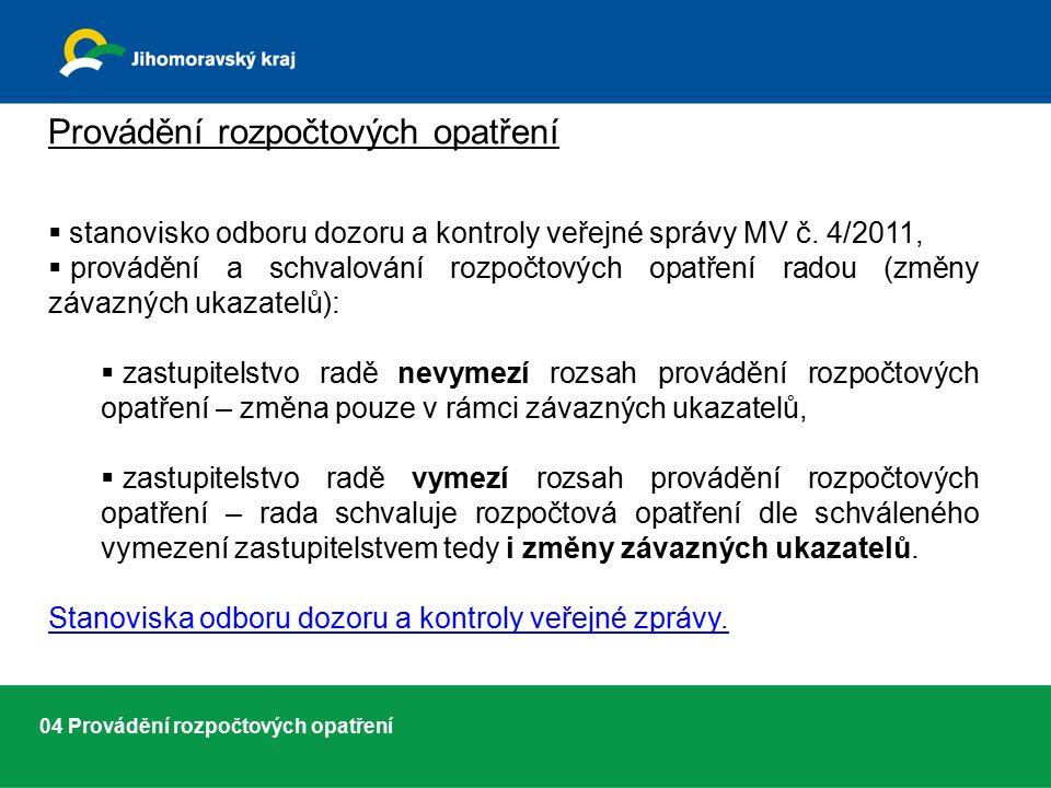 04 Provádění rozpočtových opatření Provádění rozpočtových opatření  stanovisko odboru dozoru a kontroly veřejné správy MV č.