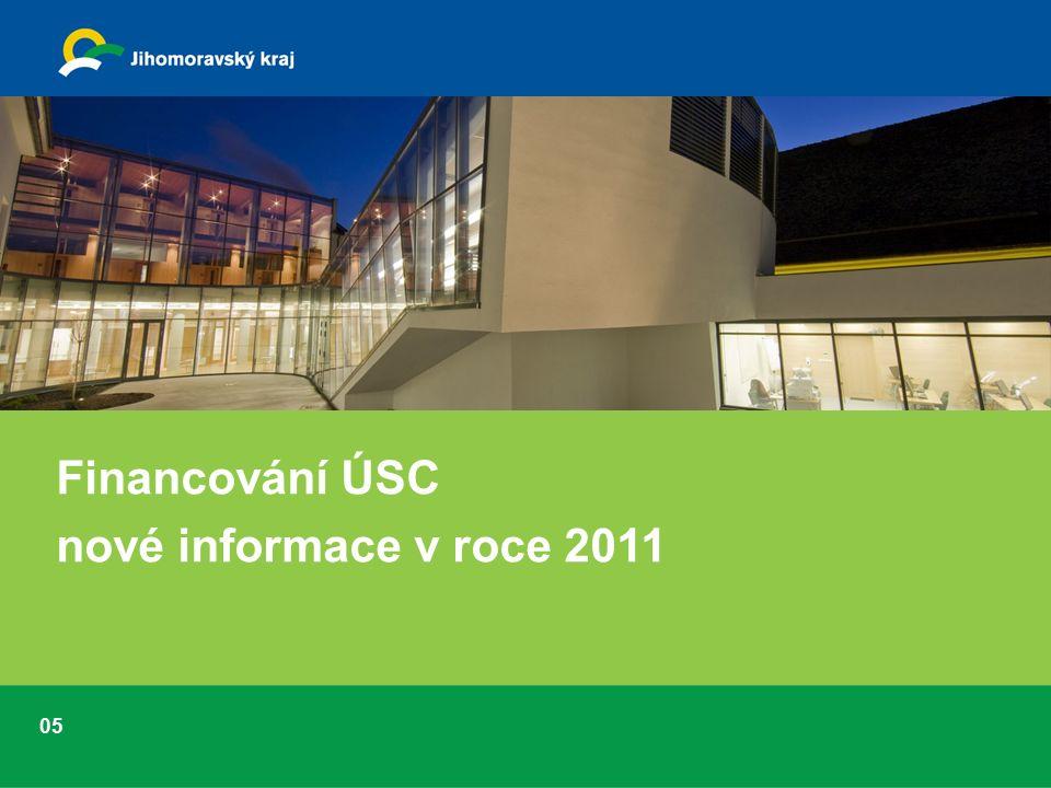 Financování ÚSC nové informace v roce 2011 05