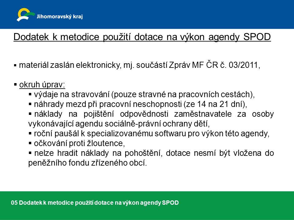 05 Dodatek k metodice použití dotace na výkon agendy SPOD Dodatek k metodice použití dotace na výkon agendy SPOD  materiál zaslán elektronicky, mj.