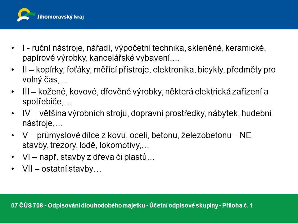 07 ČÚS 708 - Odpisování dlouhodobého majetku - Účetní odpisové skupiny - Příloha č.