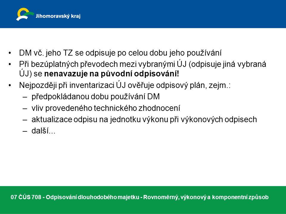 07 ČÚS 708 - Odpisování dlouhodobého majetku - Rovnoměrný, výkonový a komponentní způsob DM vč.