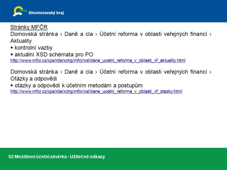 02 Mezitímní účetní závěrka - Užitečné odkazy Stránky MFČR Domovská stránka › Daně a cla › Účetní reforma v oblasti veřejných financí › Aktuality  kontrolní vazby  aktuální XSD schémata pro PO http://www.mfcr.cz/cps/rde/xchg/mfcr/xsl/dane_ucetni_reforma_v_oblasti_vf_aktuality.html Domovská stránka › Daně a cla › Účetní reforma v oblasti veřejných financí › Otázky a odpovědi  otázky a odpovědi k účetním metodám a postupům http://www.mfcr.cz/cps/rde/xchg/mfcr/xsl/dane_ucetni_reforma_v_oblasti_vf_otazky.html